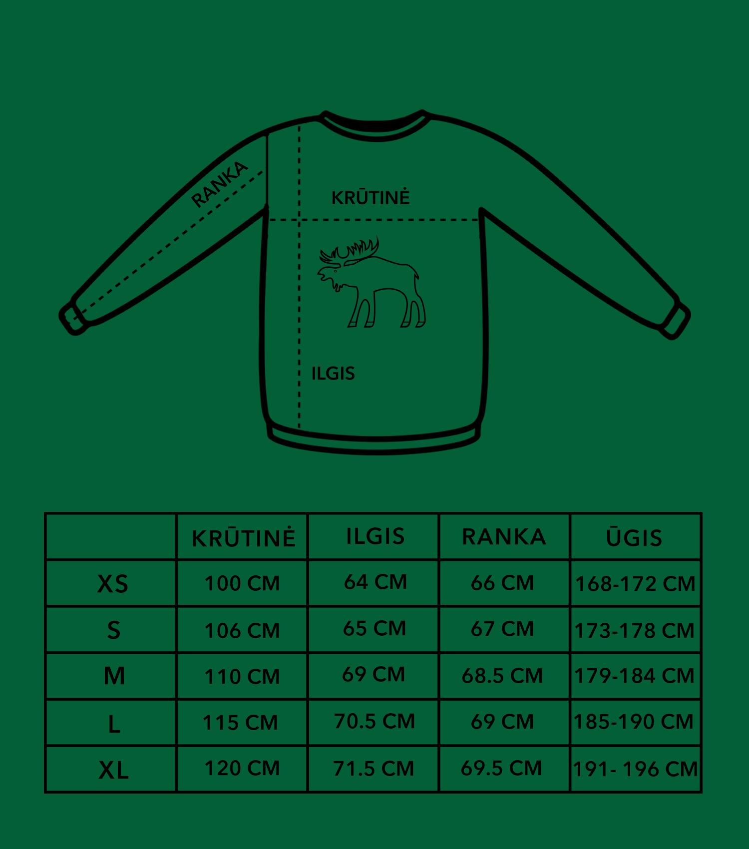 Briedžio džemperių dydžių lentelė