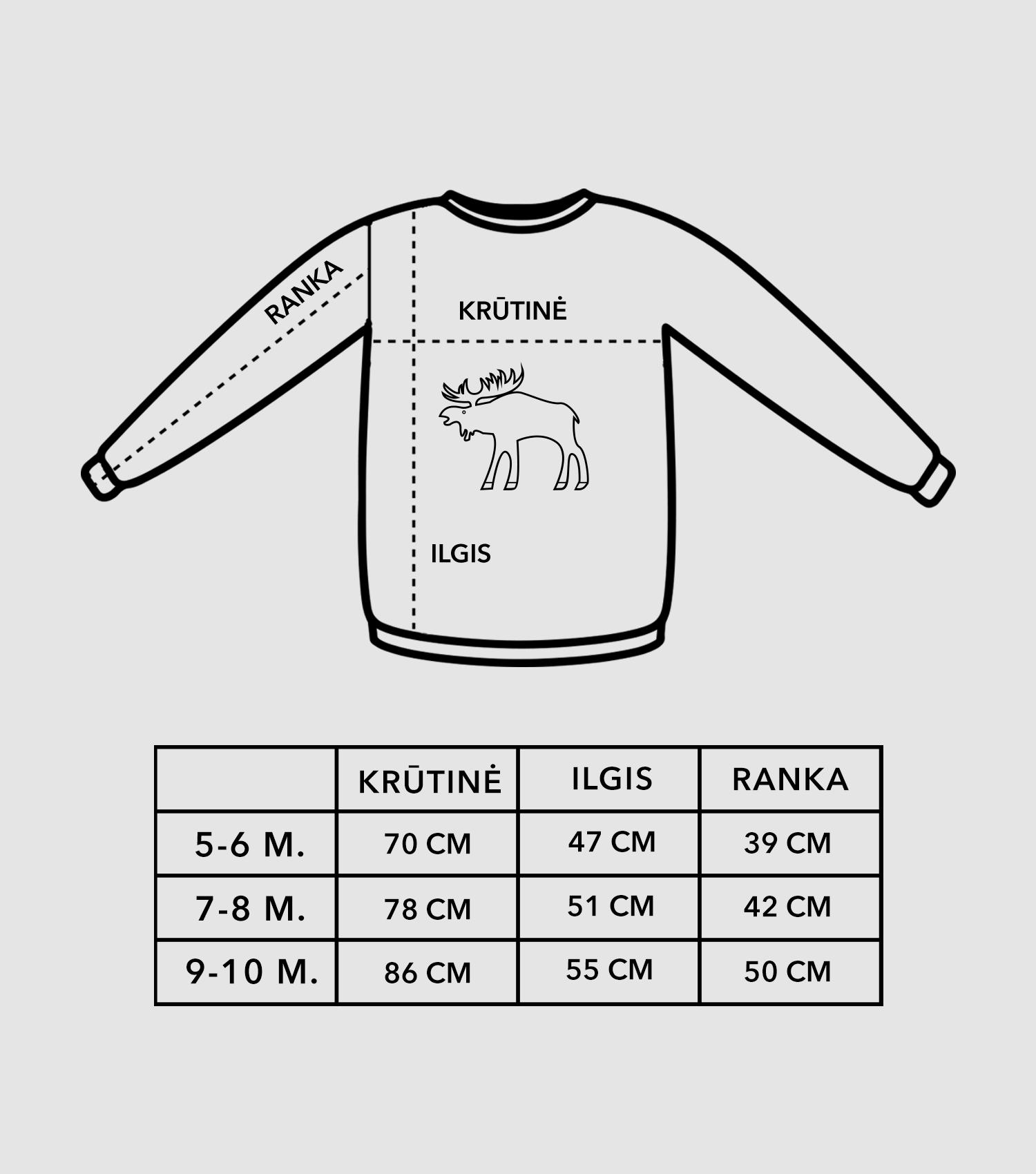 Vaikiškų džemperių dydžių lentelė