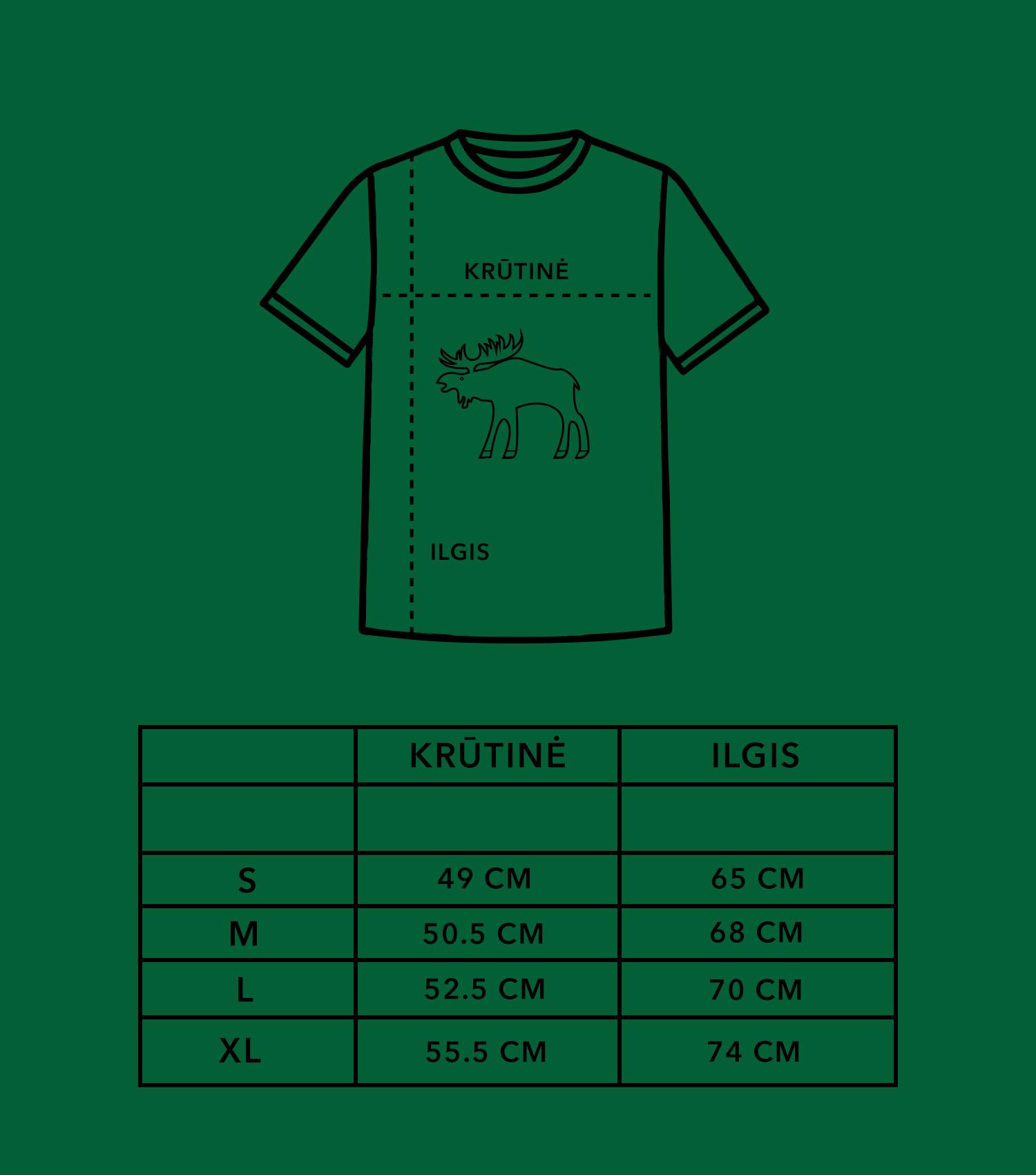 Marškinėlių dydžių lentelė