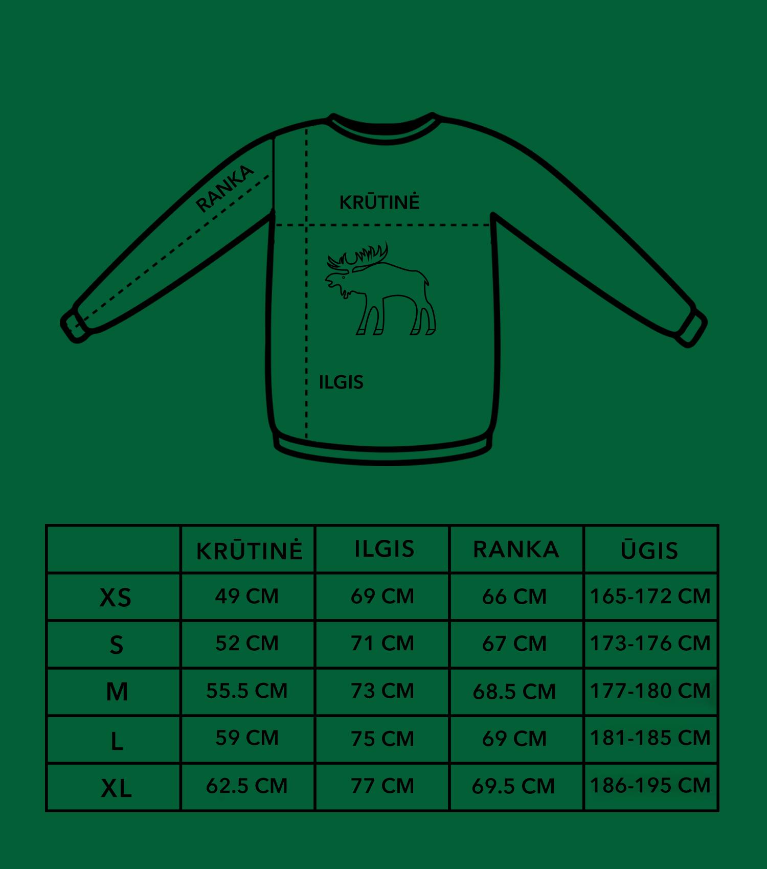 2021 džemperių dydžių lentelė